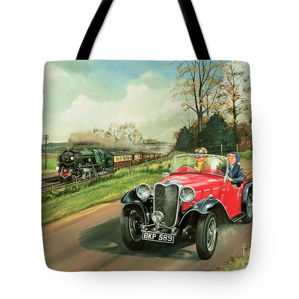 Racing The Train Tote Bag by Richard Wheatland