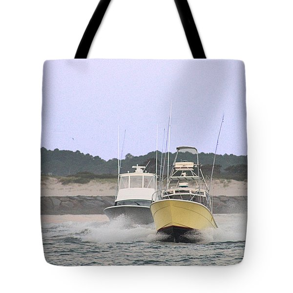 Tote Bag featuring the photograph Racing Thru The Inlet by Robert Banach