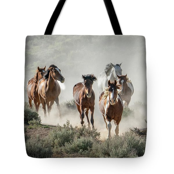 Racing To The Water Hole Tote Bag