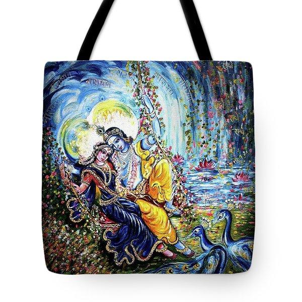 Radha Krishna Jhoola Leela Tote Bag by Harsh Malik