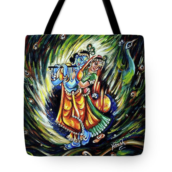 Tote Bag featuring the painting Radhe Krishna by Harsh Malik