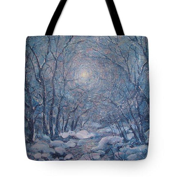 Radiant Snow Scene Tote Bag