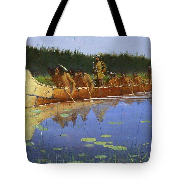 Radisson And Groseilliers Tote Bag by Frederic Remington