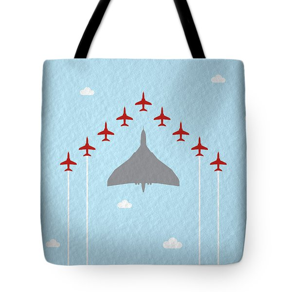 Raf Red Arrows In Formation With Vulcan Bomber Tote Bag