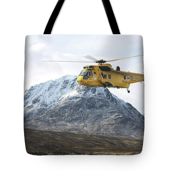 Tote Bag featuring the digital art Raf Sea King - Sar by Pat Speirs