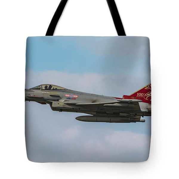 Raf Typhoon In Flight At Uk Airshow Tote Bag