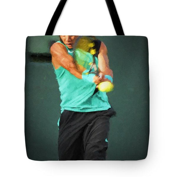 Tote Bag featuring the painting Rafael Nadal by Lou Novick