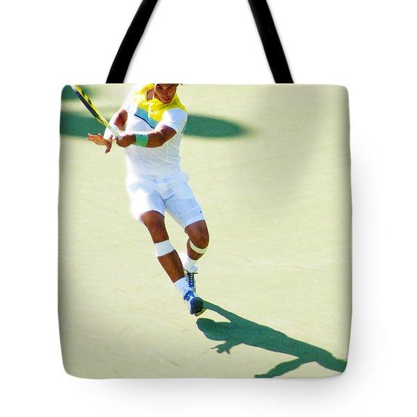 Rafael Nadal Shadow Play Tote Bag by Steven Sparks