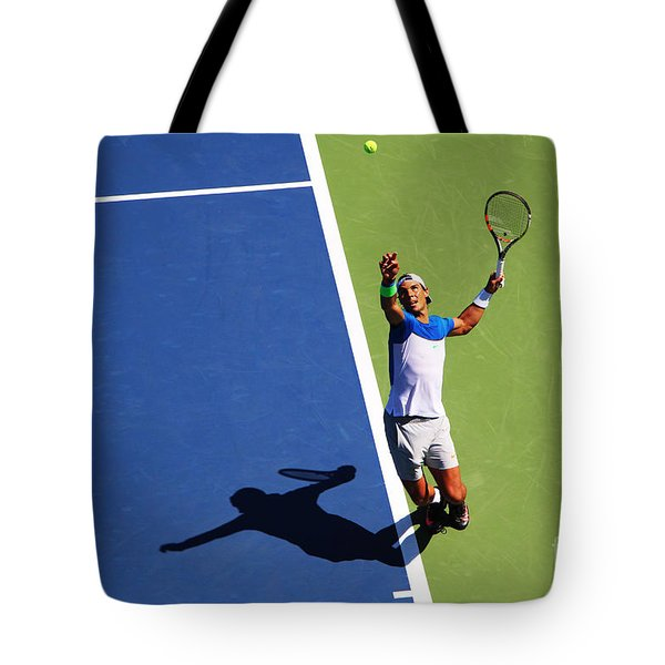 Rafeal Nadal Tennis Serve Tote Bag by Nishanth Gopinathan