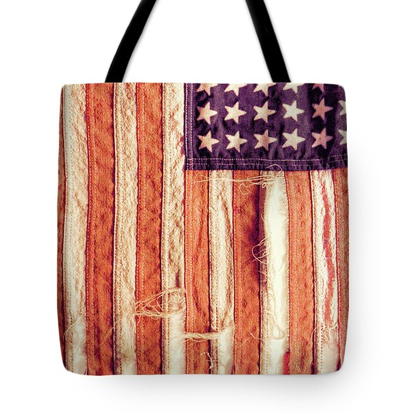 Ragged American Flag Tote Bag by Jill Battaglia