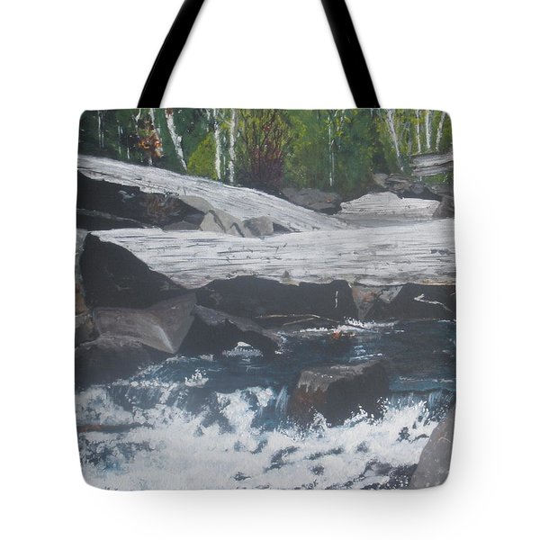 Tote Bag featuring the painting Ragged Falls by Betty-Anne McDonald