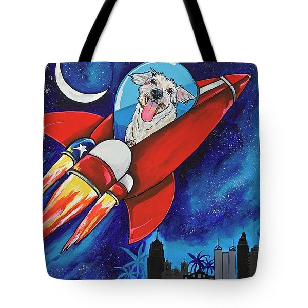 Rags The Rocket Dog Tote Bag