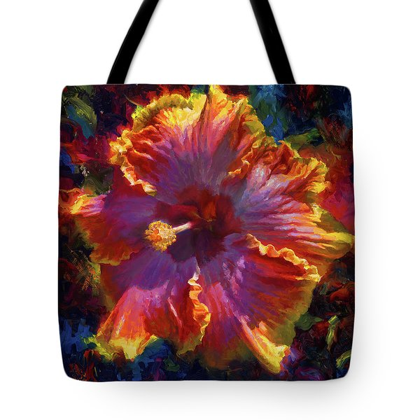 Rainbow Hibiscus Tropical Flower Wall Art Botanical Oil Painting Radiance  Tote Bag