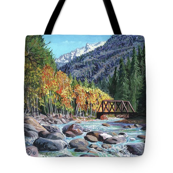 Rail Bridge At Cascade Tote Bag