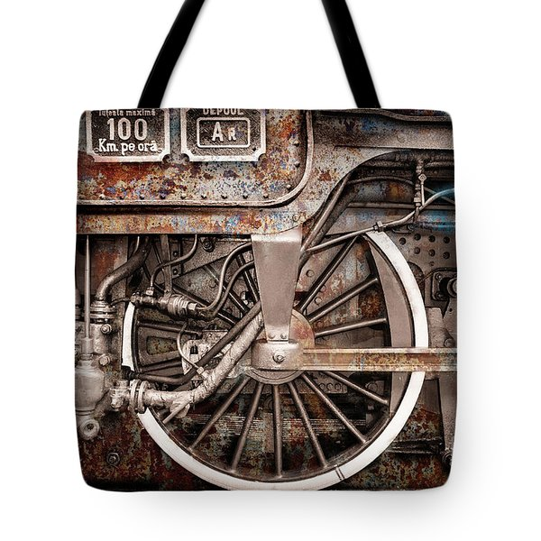 Rail Wheel Grunge Detail,  Steam Locomotive 06 Tote Bag