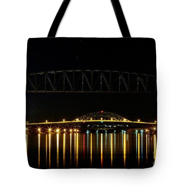 Railroad And Bourne Bridge At Night Cape Cod Tote Bag by Matt Suess