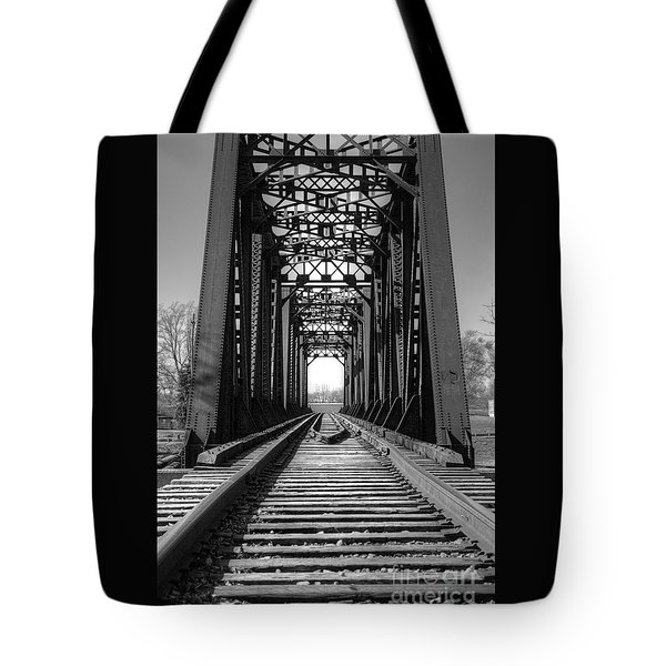 Railroad Bridge Black And White Tote Bag