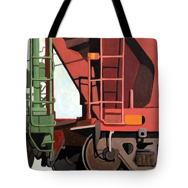 Railroad Cars - Realistic Train Oil Painting Tote Bag