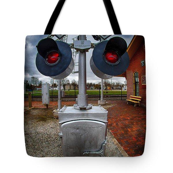 Railroad Crossing Signal Tote Bag