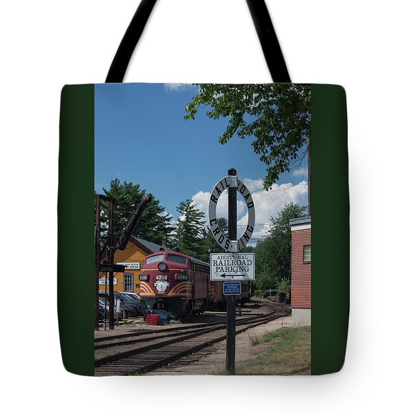 Railroad Crossing Tote Bag by Suzanne Gaff