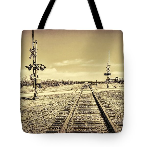 Railroad Crossing Textured Tote Bag