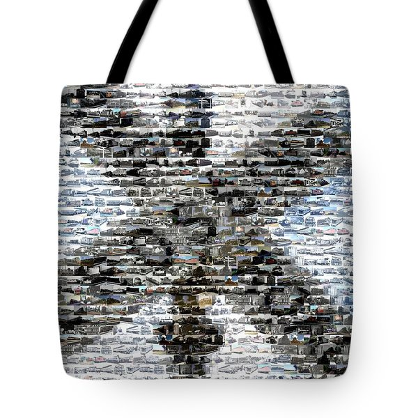 Tote Bag featuring the mixed media Railroad Crossing Trains Mosaic by Paul Van Scott