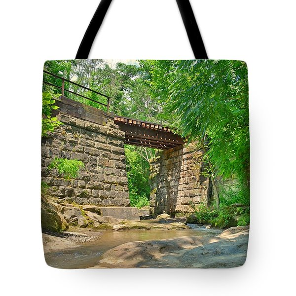 Tote Bag featuring the photograph Railroad Tracks At Buttermilk/homewood Falls by Lisa Wooten