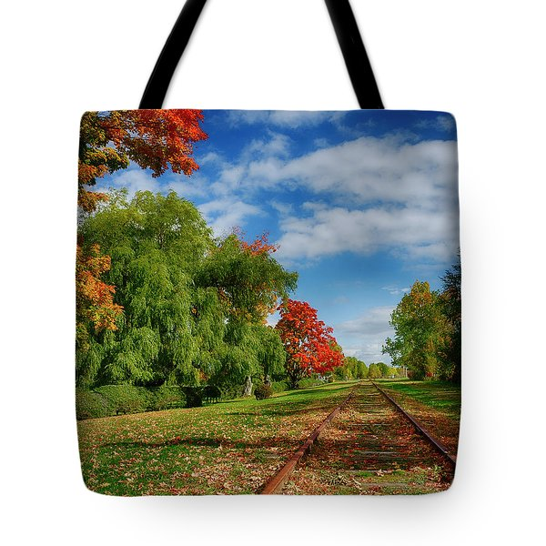 Railroad Tracks At Grand-pre National Historic Site Tote Bag by Ken Morris