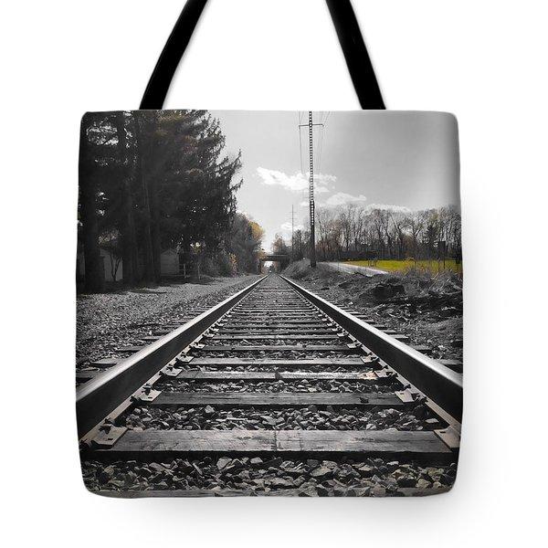 Railroad Tracks Bw Tote Bag