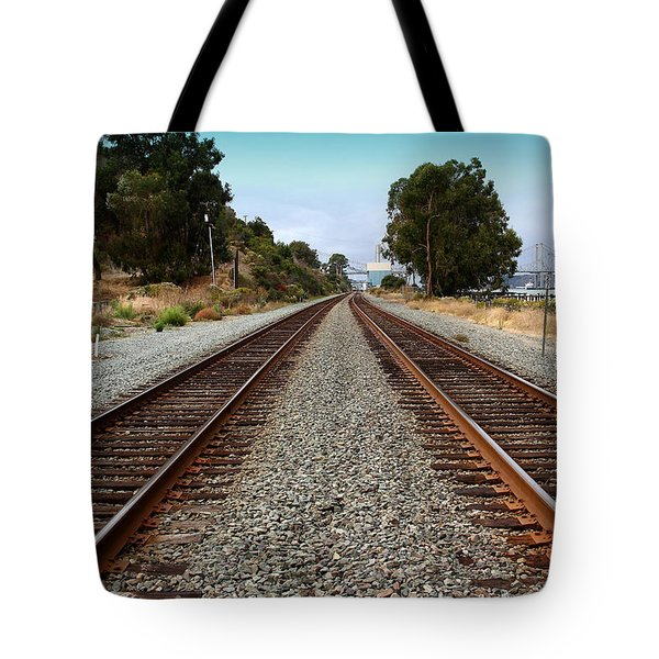 Railroad Tracks With The New Alfred Zampa Memorial Bridge And The Old Carquinez Bridge In Distance Tote Bag by Wingsdomain Art and Photography