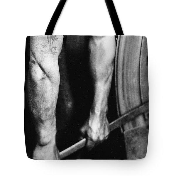 Railroad Worker Tightening Wheel Tote Bag