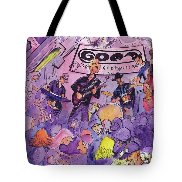 Railbenders At The Goat Soup And Whiskey Tote Bag by David Sockrider