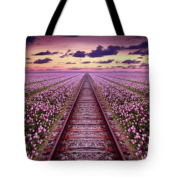 Railway In A Purple Tulip Field Tote Bag