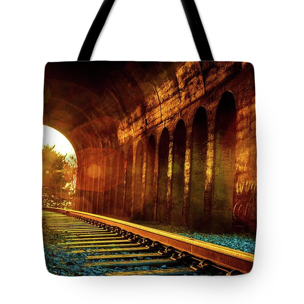 Railway Track Sunrise Tote Bag