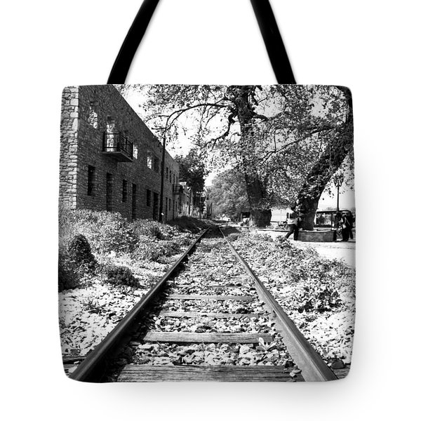 Railway Tracks Aigio Greece Tote Bag by Frank Filippoupolitis