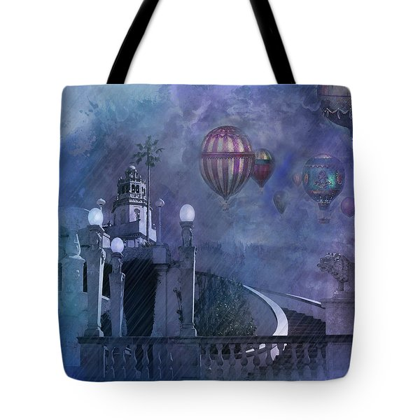 Tote Bag featuring the digital art Rain And Balloons At Hearst Castle by Jeff Burgess