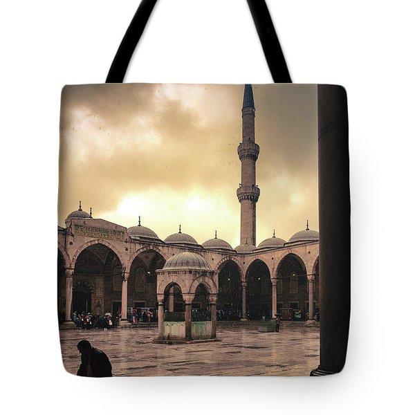 Rain At The Blue Mosque Tote Bag by Marji Lang