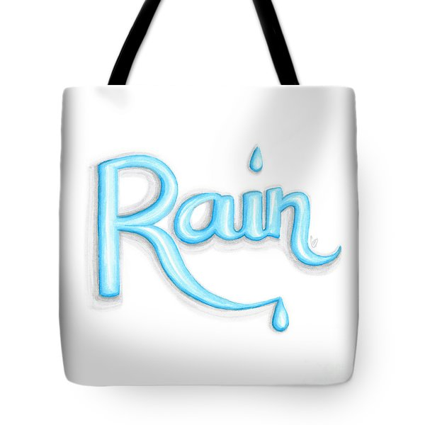 Tote Bag featuring the drawing Rain by Cindy Garber Iverson