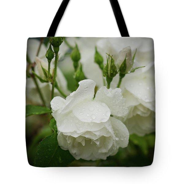 Rain Drops In Our Garden Tote Bag