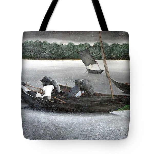 Rain In Bangladesh- An Acrylic Painting Tote Bag by Fahad Hossain