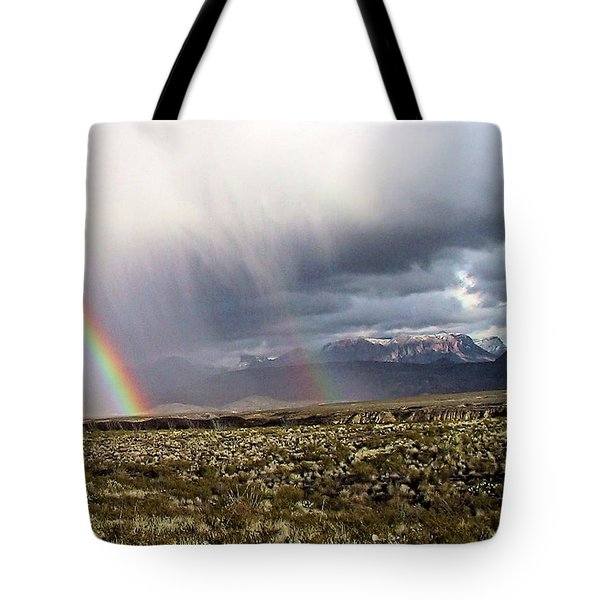 Tote Bag featuring the painting Rain In The Desert by Dennis Ciscel