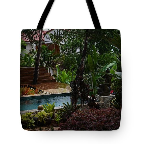 Rain In The Garden Of Good And Evil Tote Bag by Pamela Blizzard