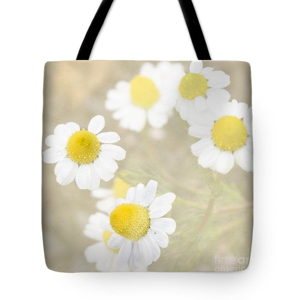 Rain-kissed Chamomile Tote Bag by Cindy Garber Iverson