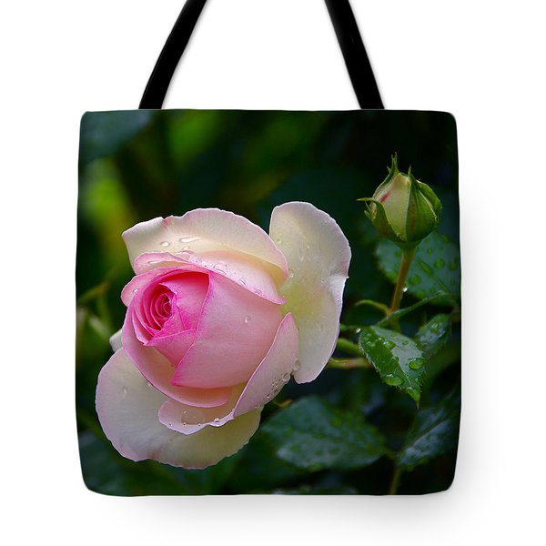 Tote Bag featuring the photograph Rain-kissed Rose by Byron Varvarigos