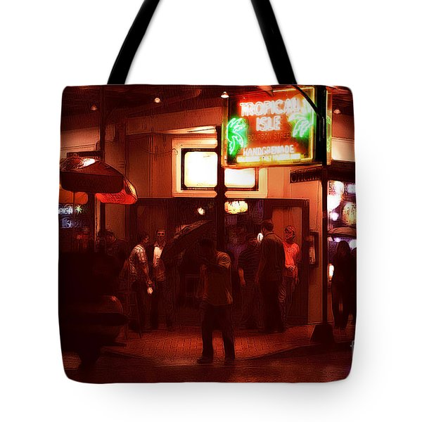 Rain On Bourbon Street Tote Bag by John Rizzuto