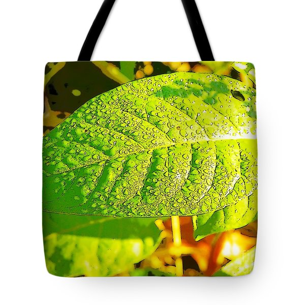 Rain On Leaf Tote Bag by Craig Walters