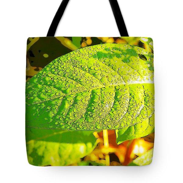 Rain On Leaf Tote Bag