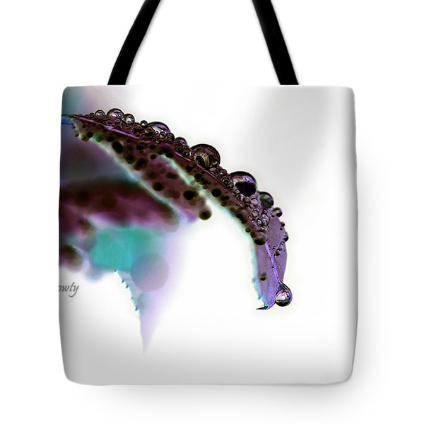 Rain On Rose Leaf Abstract Tote Bag