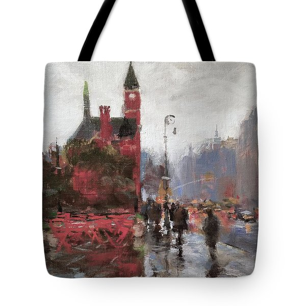 Rain On Sixth Avenue Tote Bag by Peter Salwen