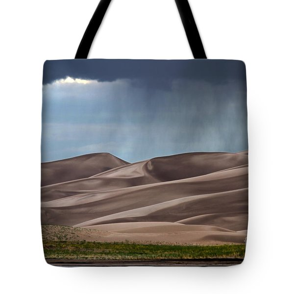 Rain On The Great Sand Dunes Tote Bag by Catherine Sherman